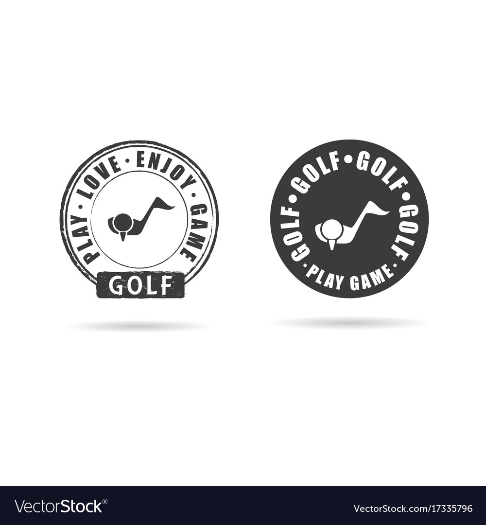 Golf icon with grunge rubber set