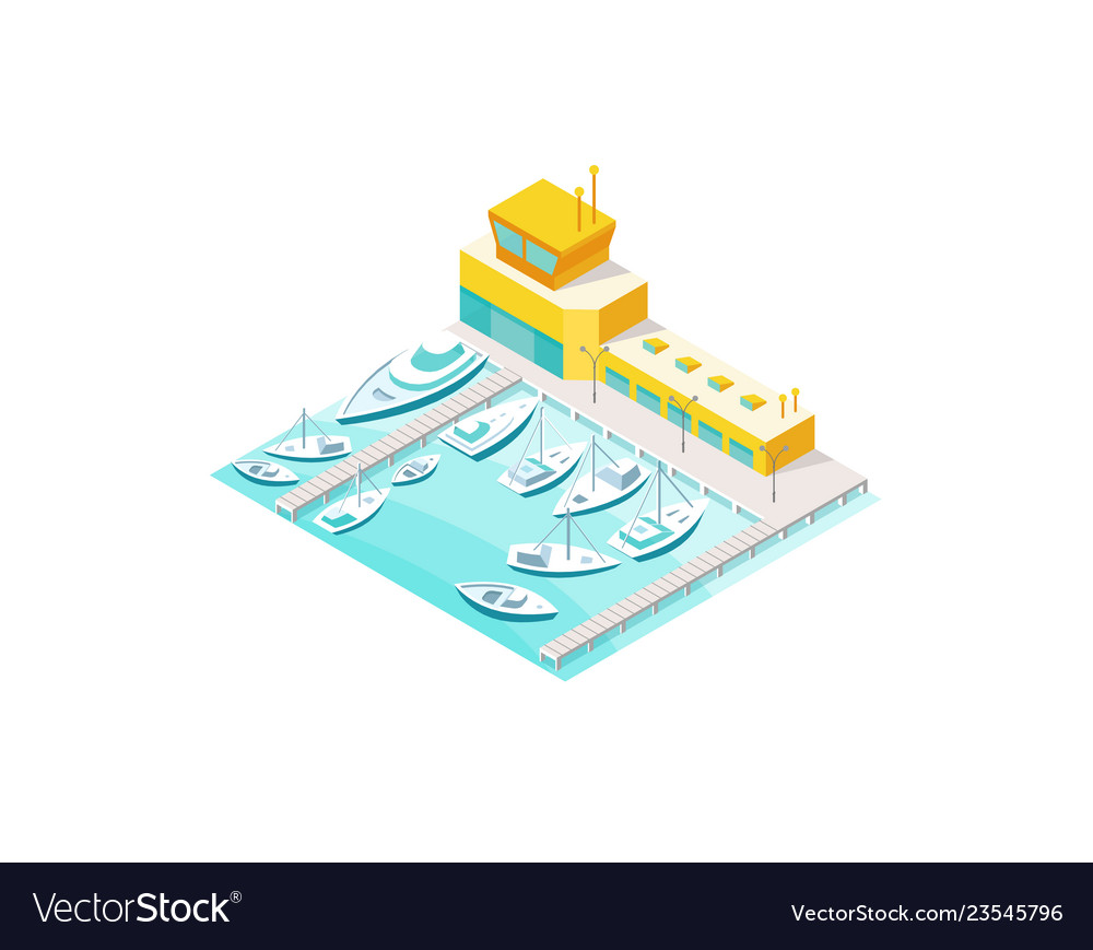 Harbor sea boats and yacht pier