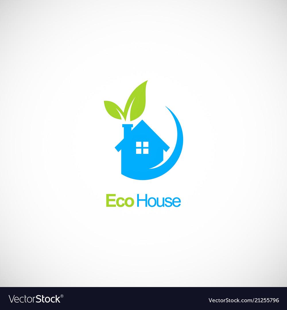 House ecology green leaf logo