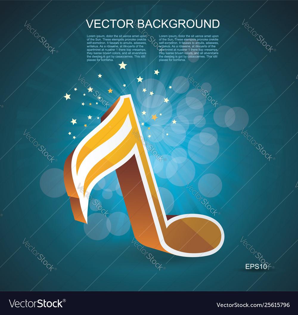 I 3d music note in golden glass on dark blue