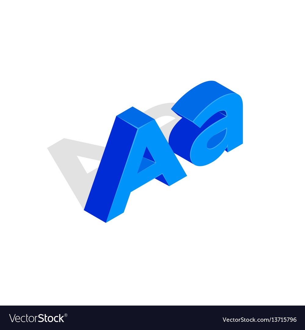 Isometric a letter font first vector image