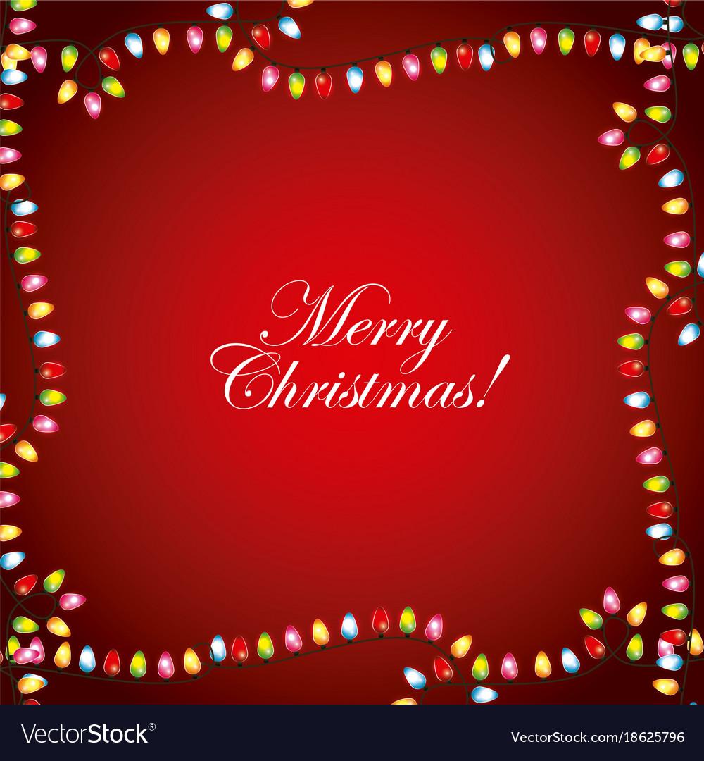 Merry Christmas Greeting Card Garland Lights Frame