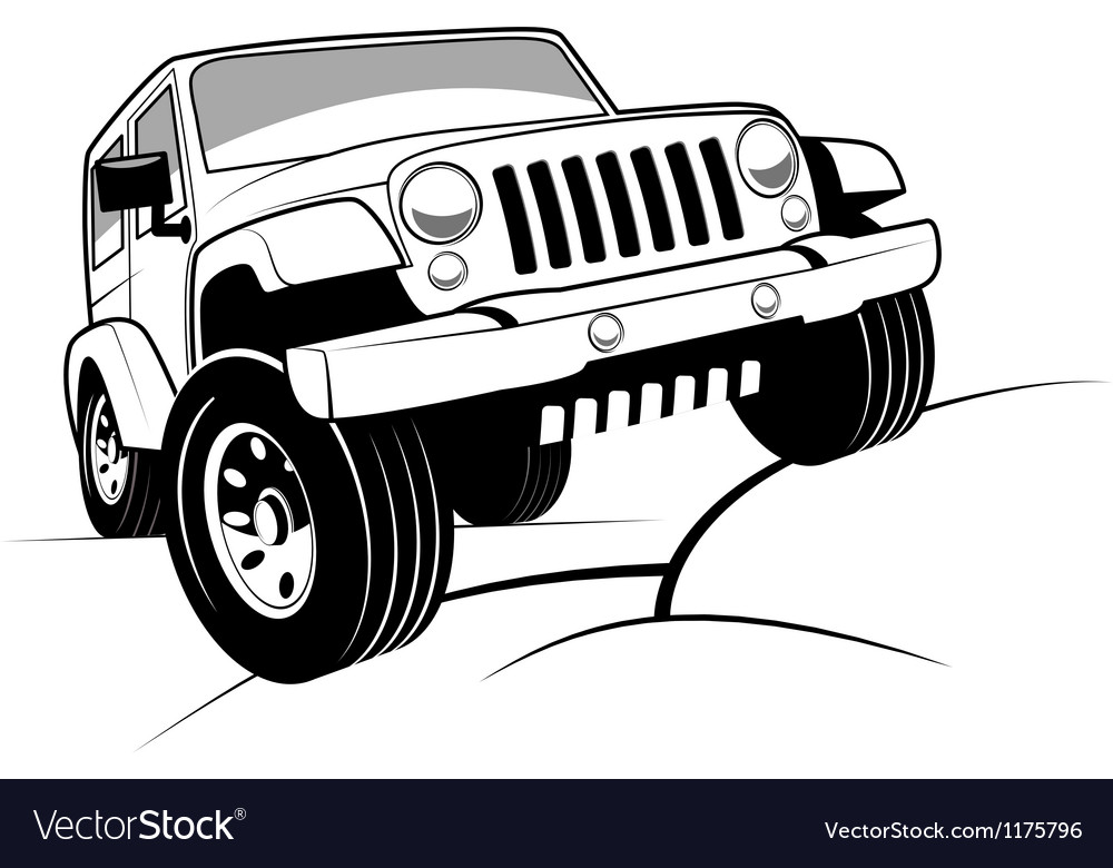 Off Road Jeep >> Monochrome Detailed Cartoon Off Road Jeep