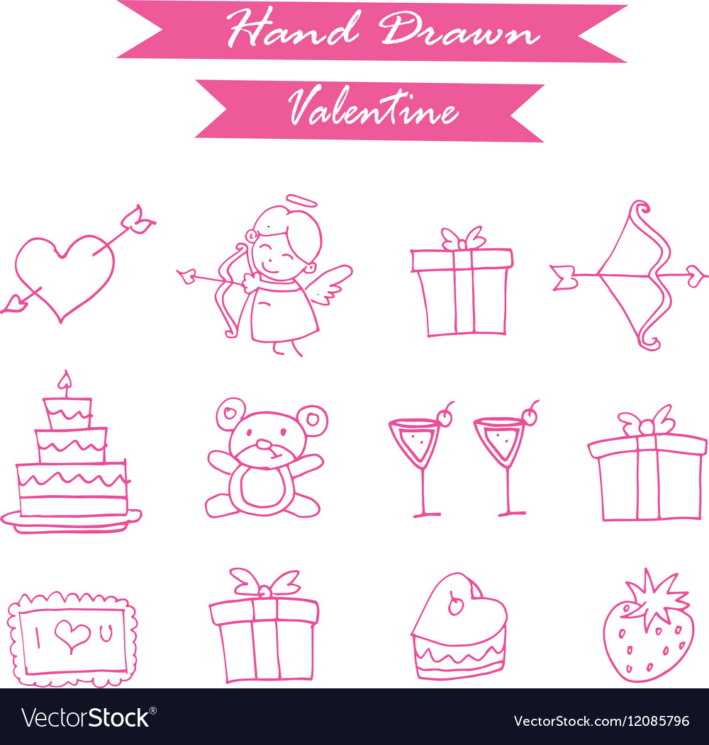 Pink icon valentine day collection