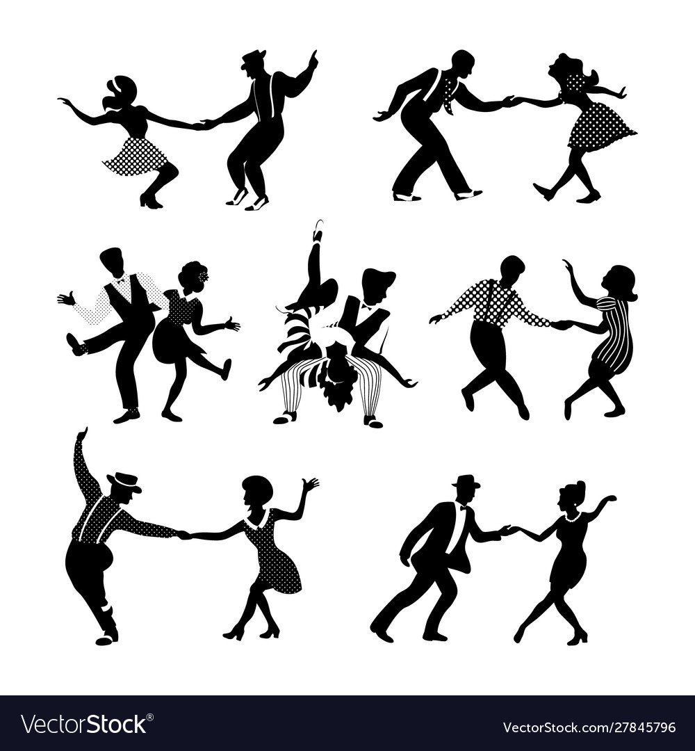 Rock N Roll And Jazz Dancing Couples Set Vector Image