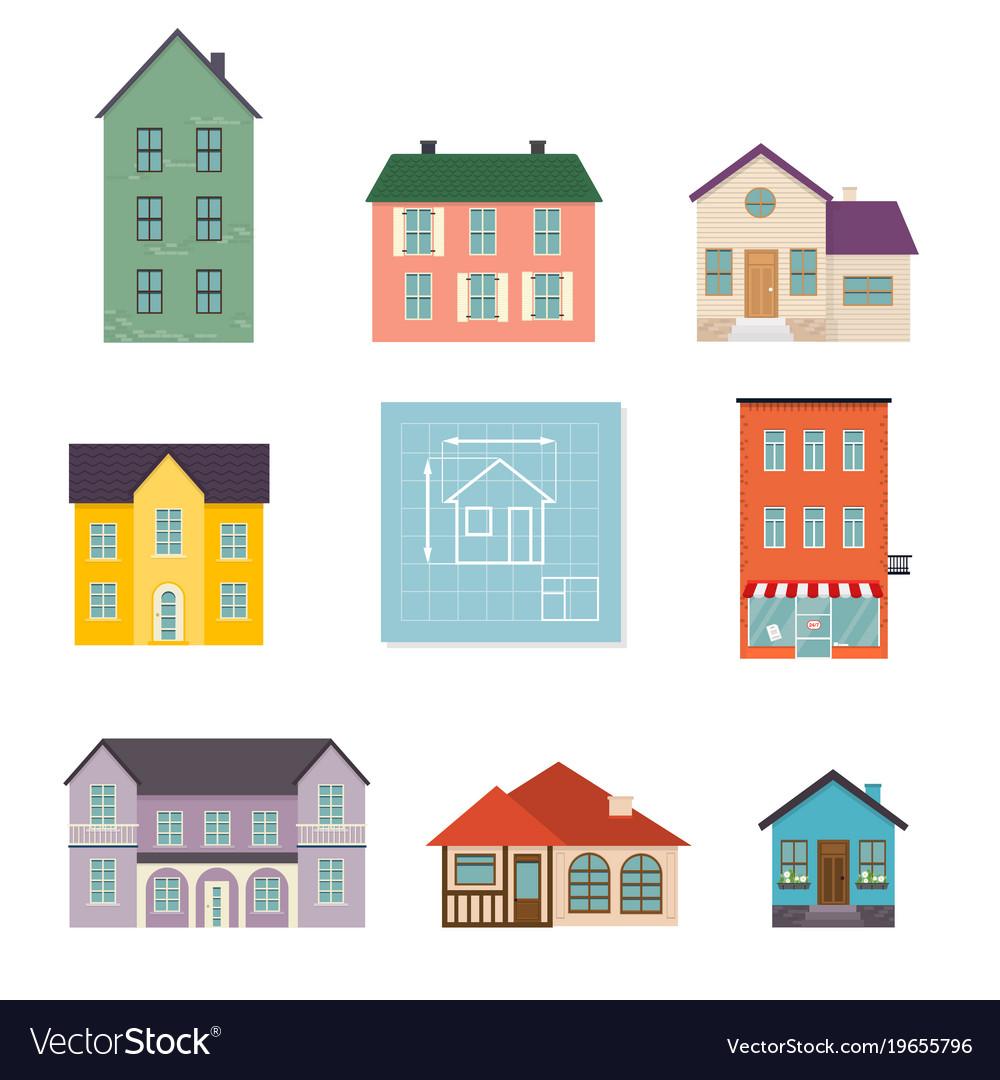 Set flat house icons family house icon isolated
