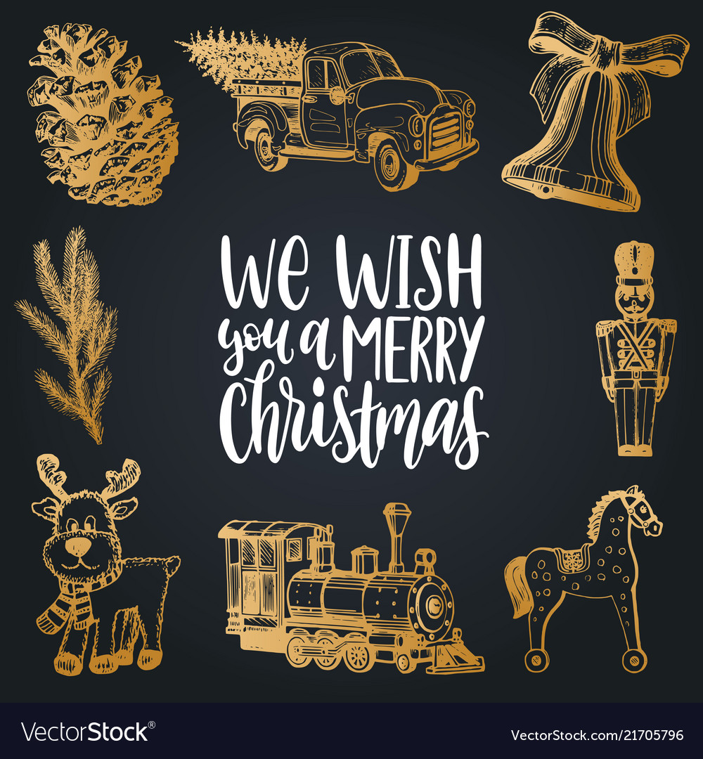 We wish you a merry christmas lettering with hand