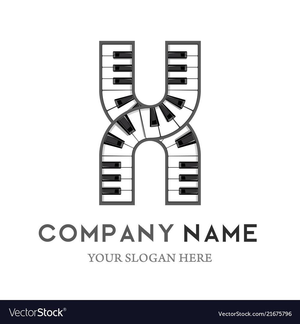 X letter logo design piano keyboard logo