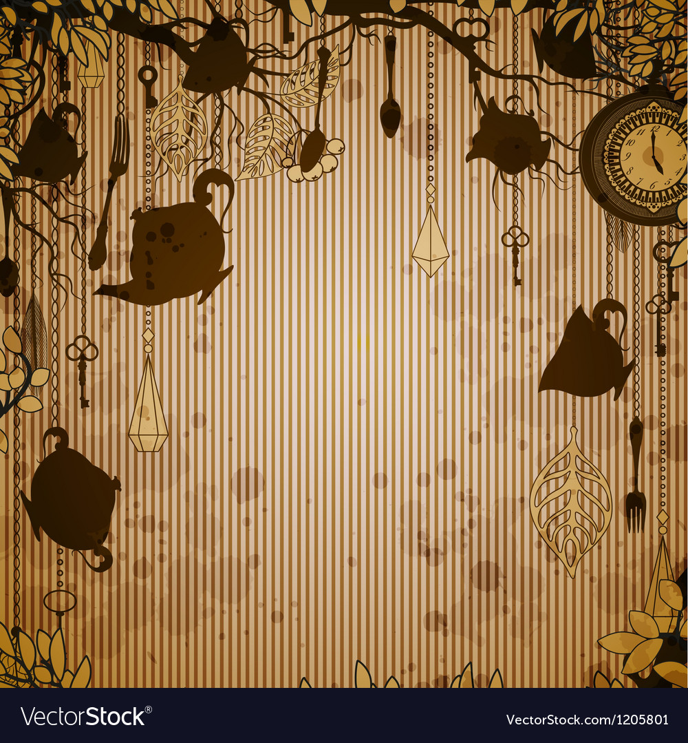 Abstract bronze background with tea party theme