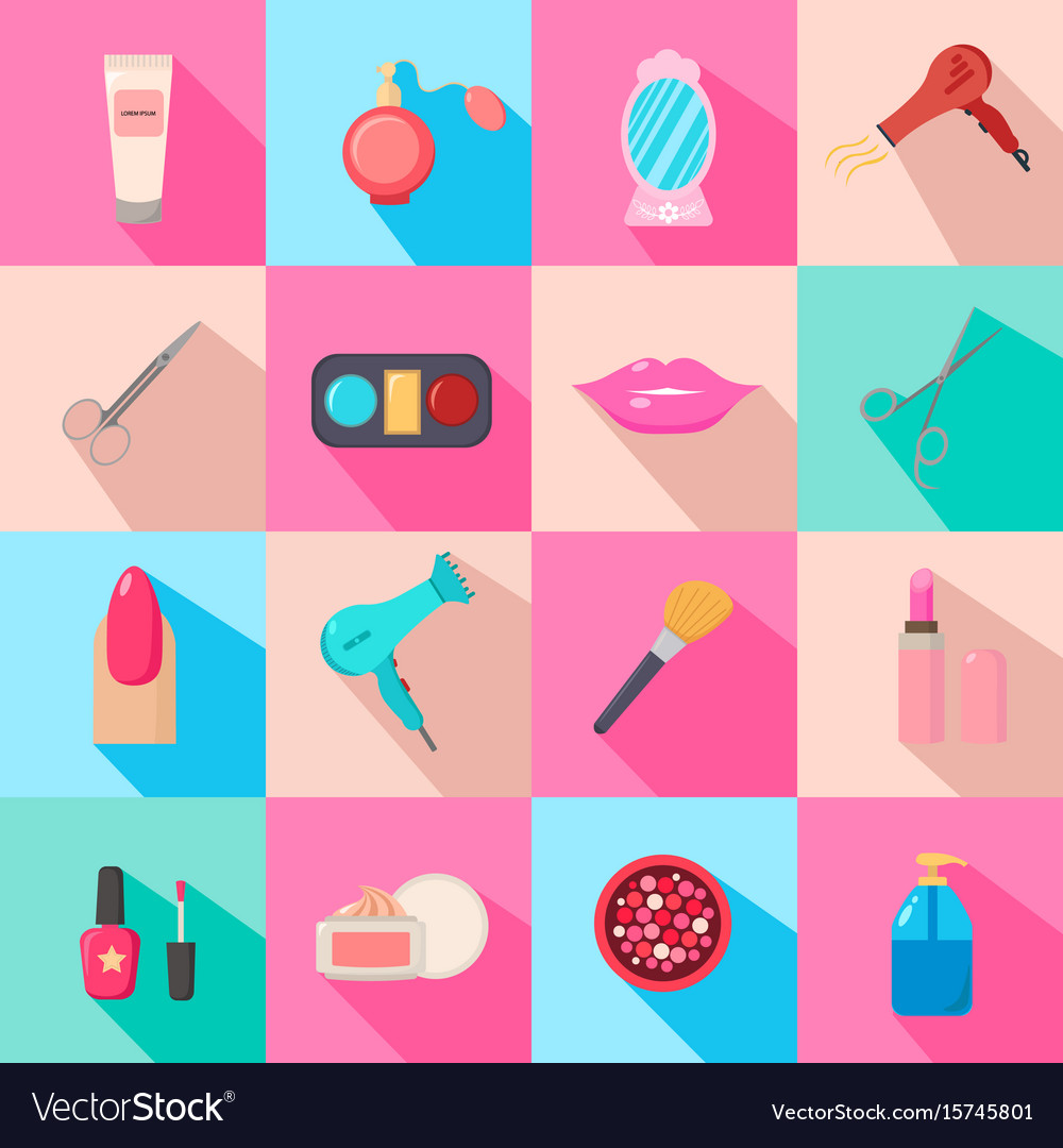 Beauty Salon Set Of Cartoon Icons Colorful Vector Image