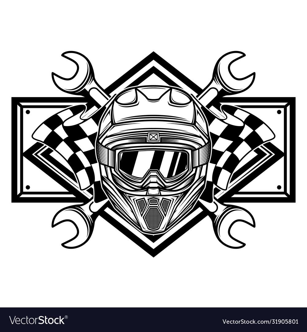 Black and white racing team logo