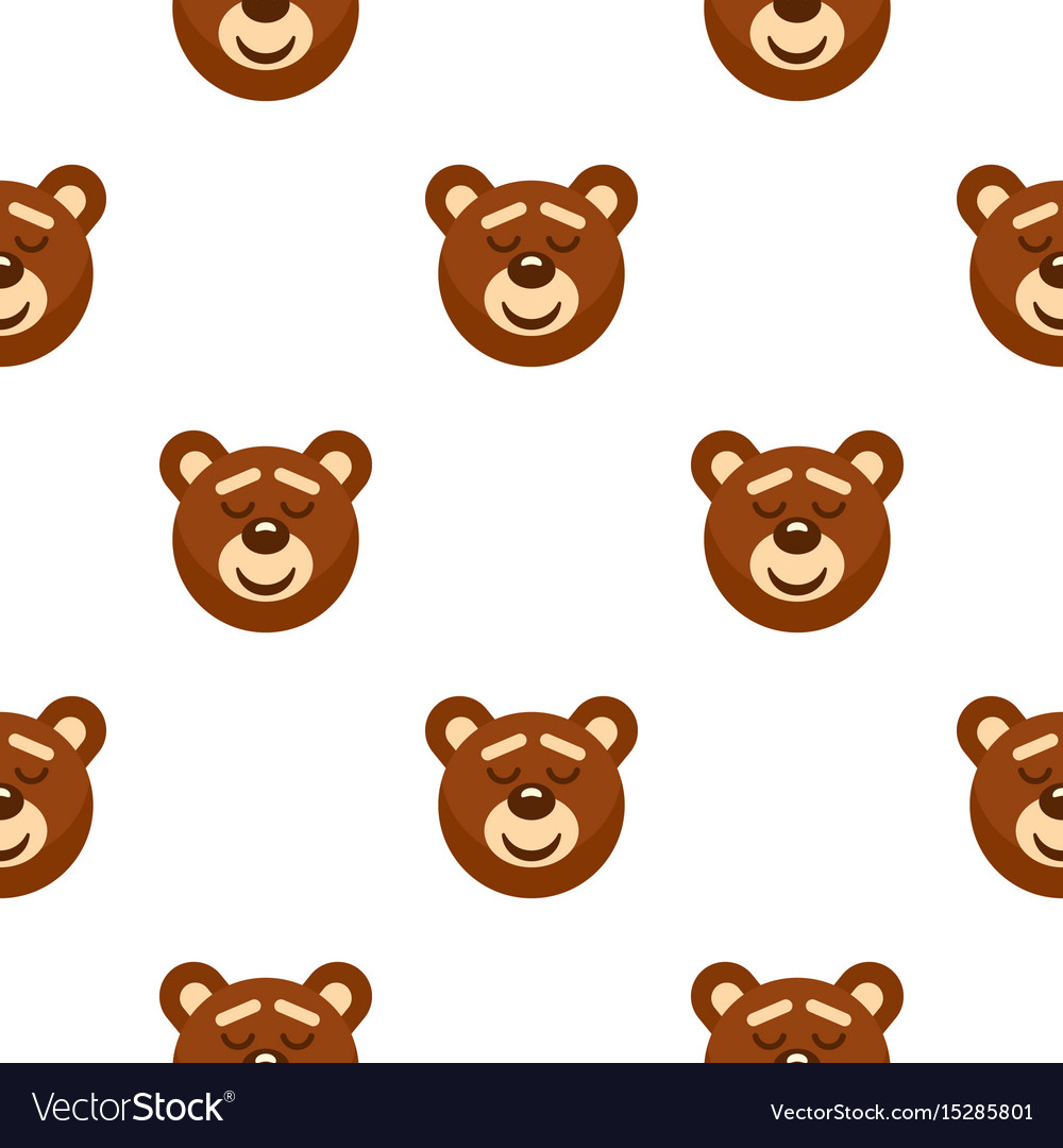 Brown Teddy Bear Head Pattern Seamless Vector Image