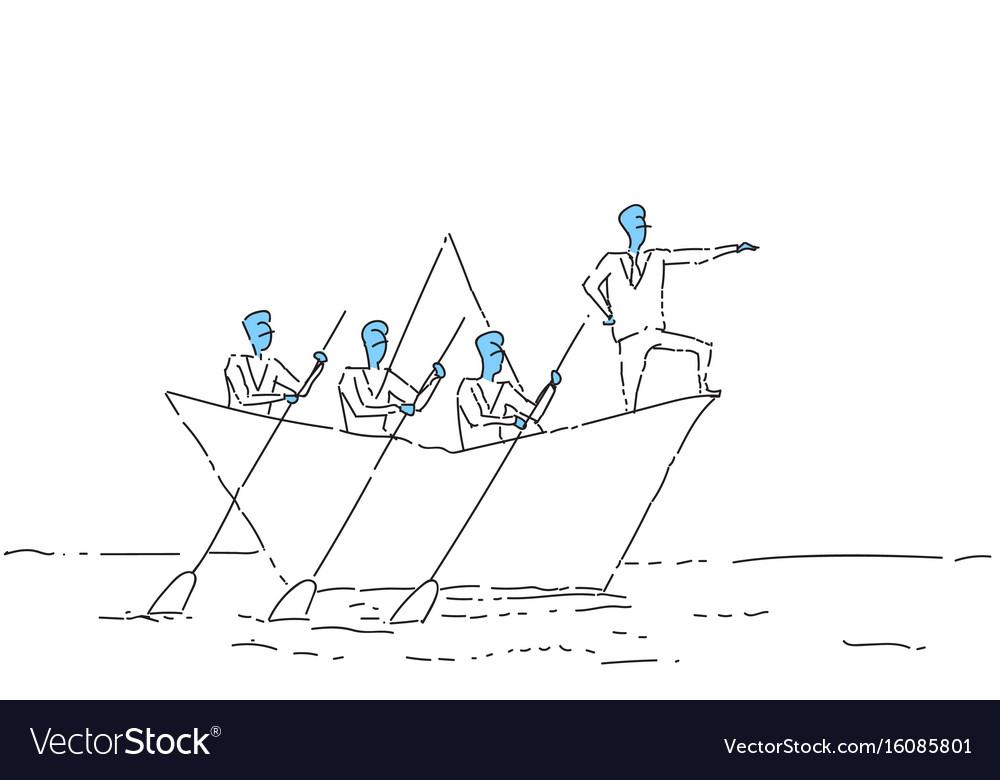 Businessman leading business people team swim in vector image