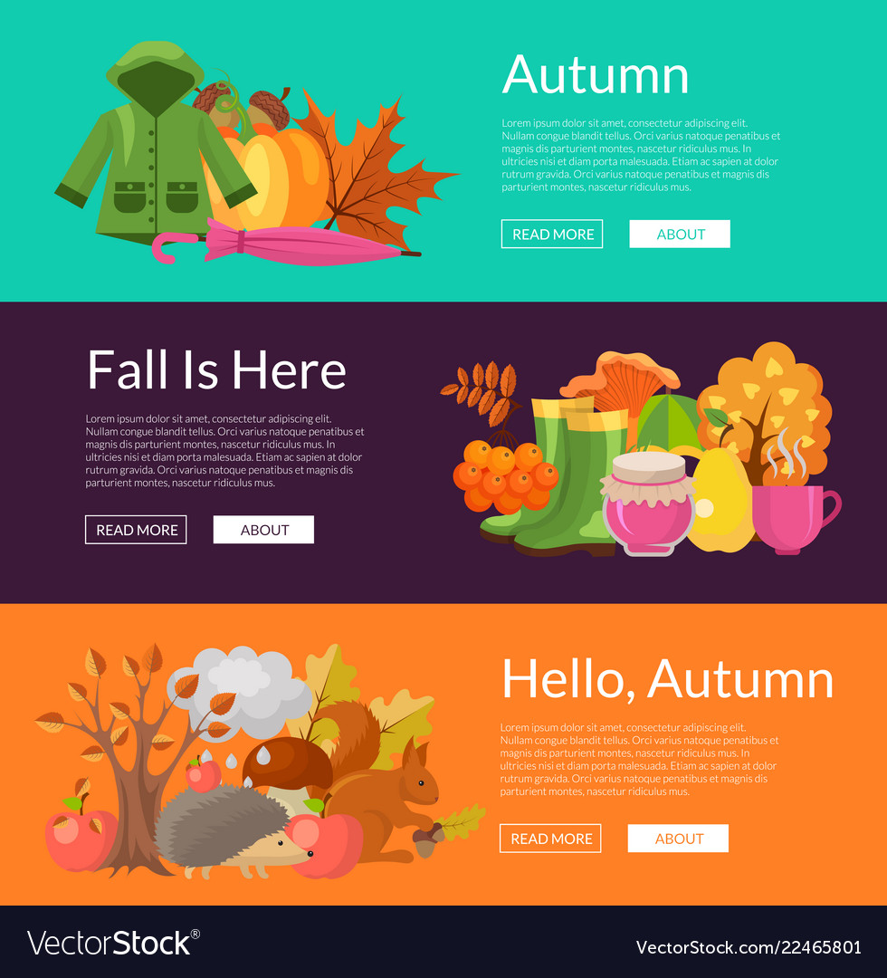 Cartoon autumn elements and leaves web