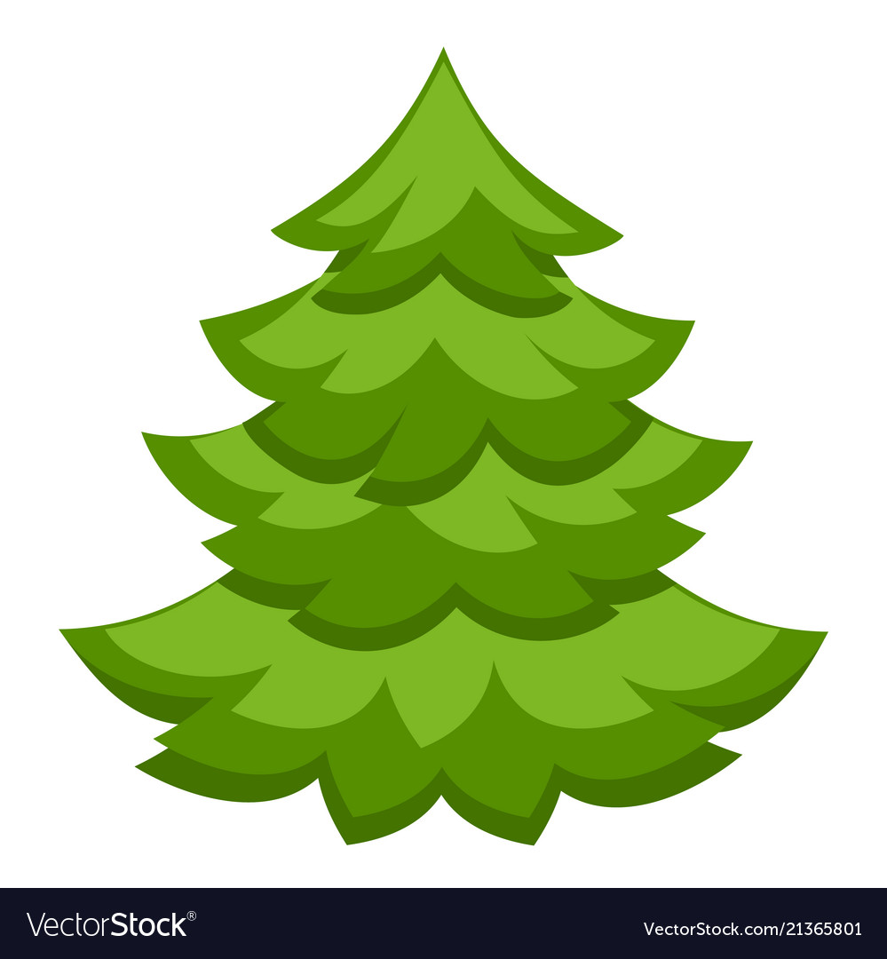 Christmas Tree Vector.Colorful Cartoon Christmas Tree