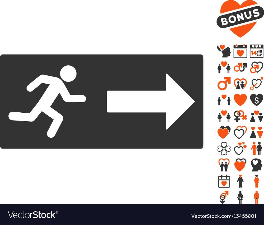 Emergency exit icon with valentine bonus