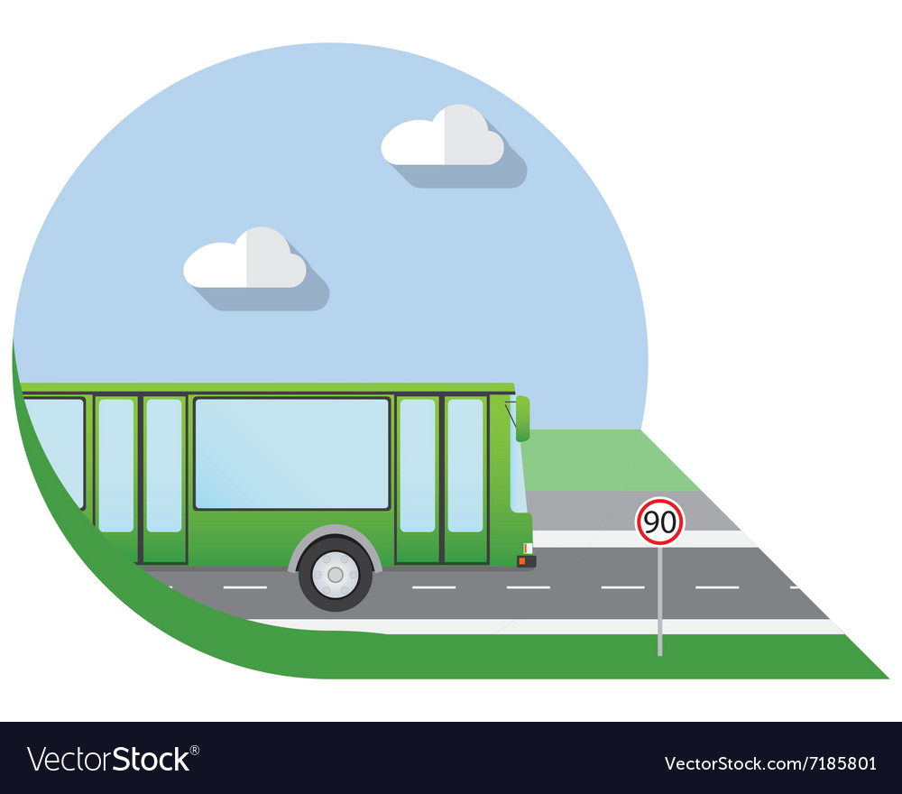 Flat design city Transportation city bus side view