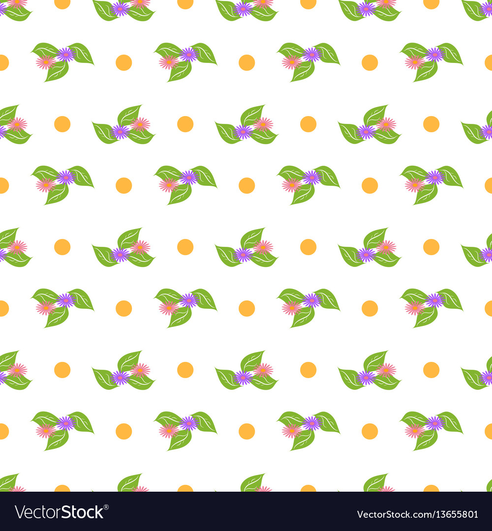 Flower and dot seamless pattern