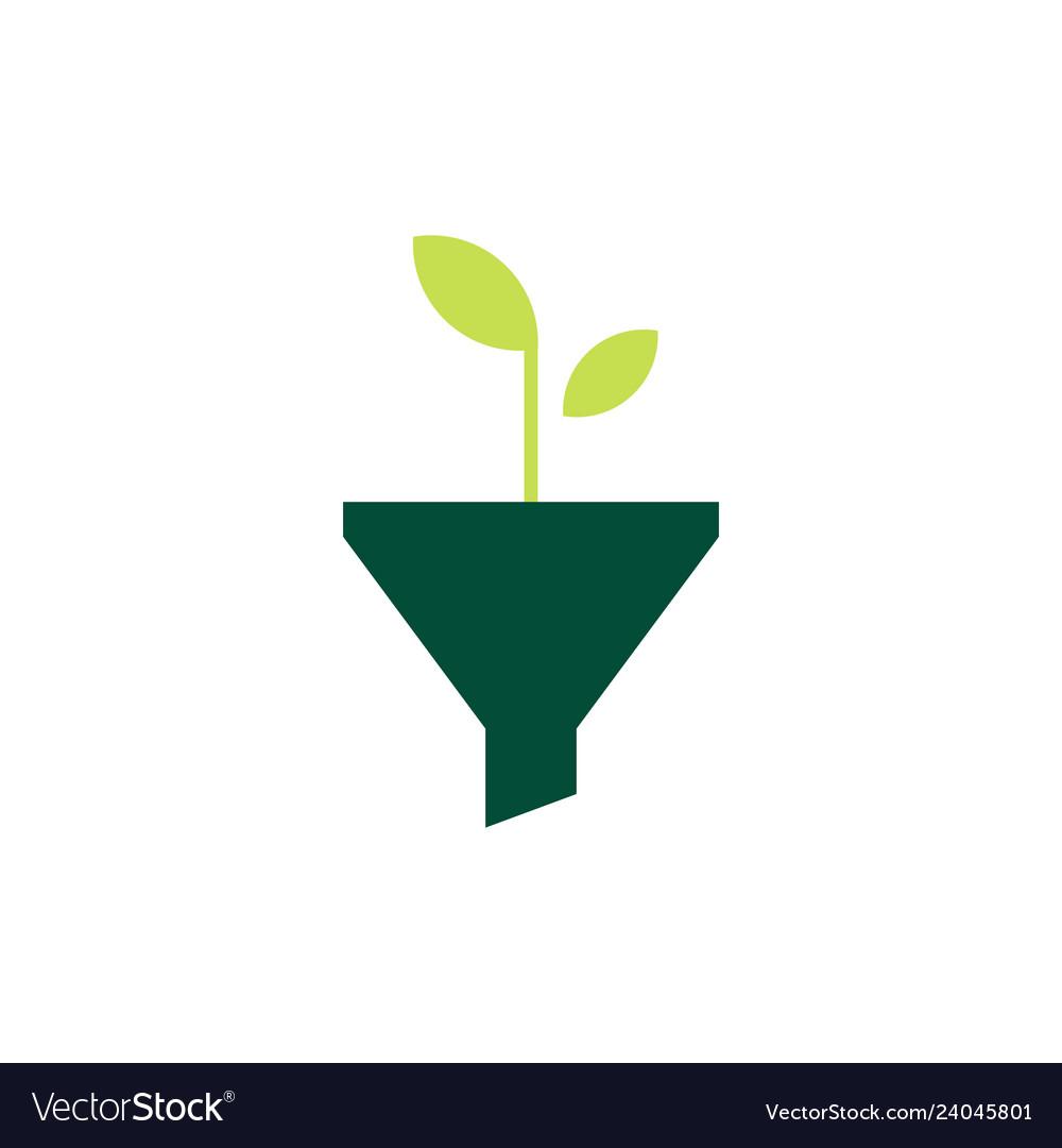 Funneling growth leaf organic logo icon