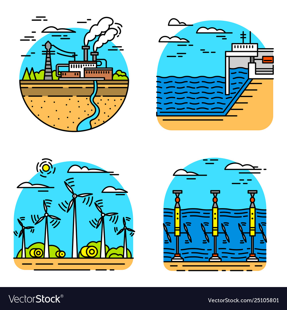 Generating energy power plants icons industrial