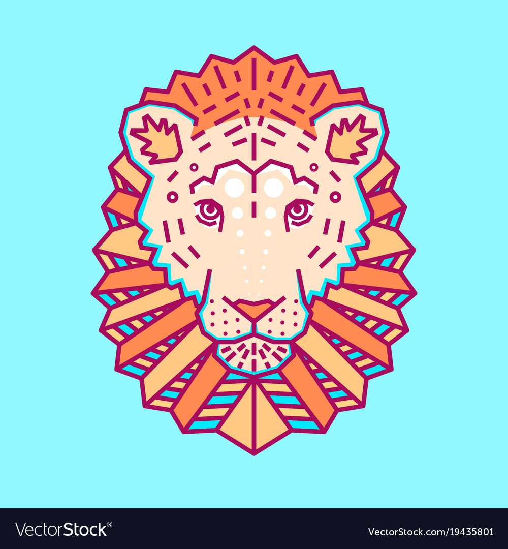 Geometric head of lion simple forms