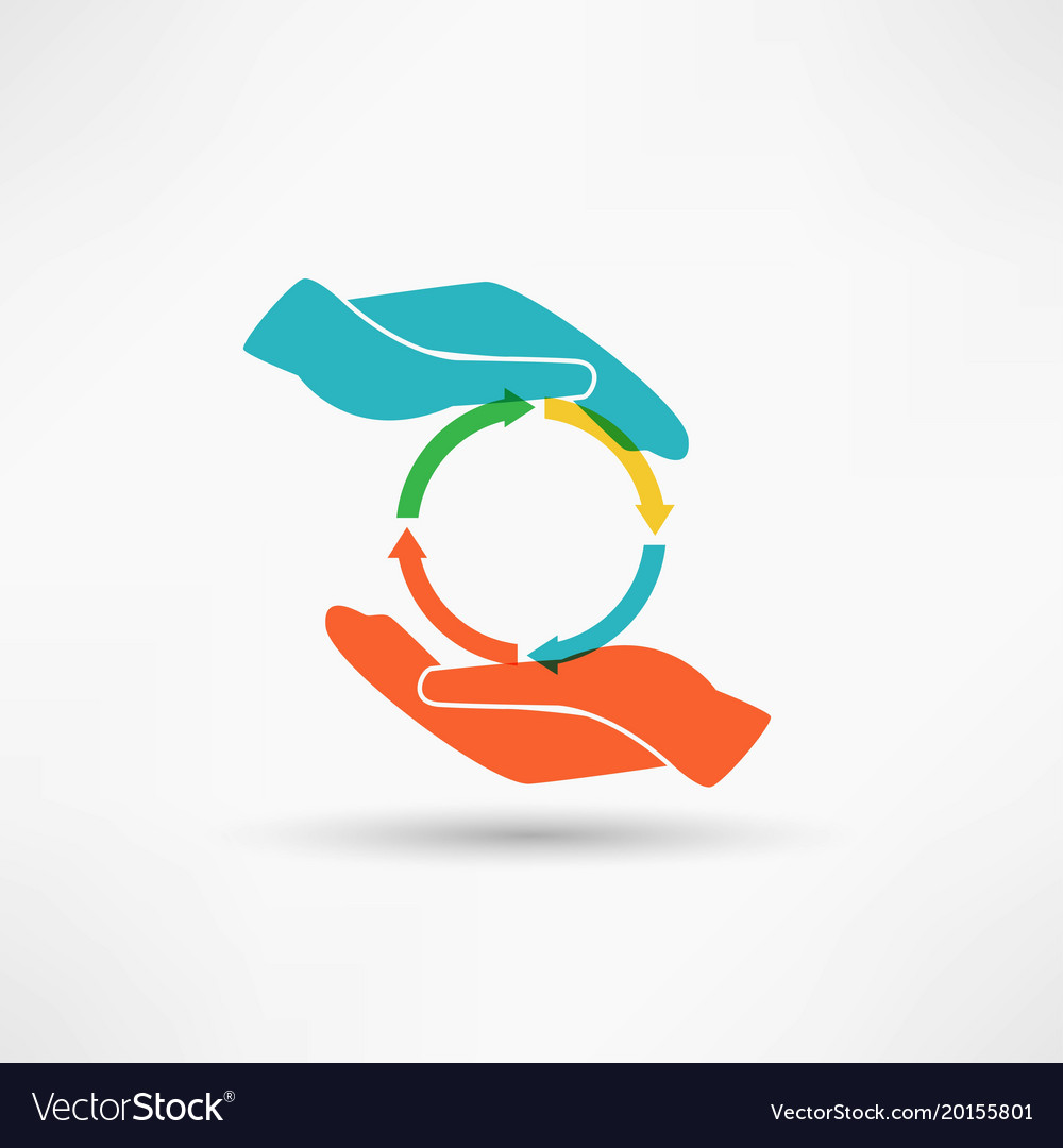 Hands connecting vector image