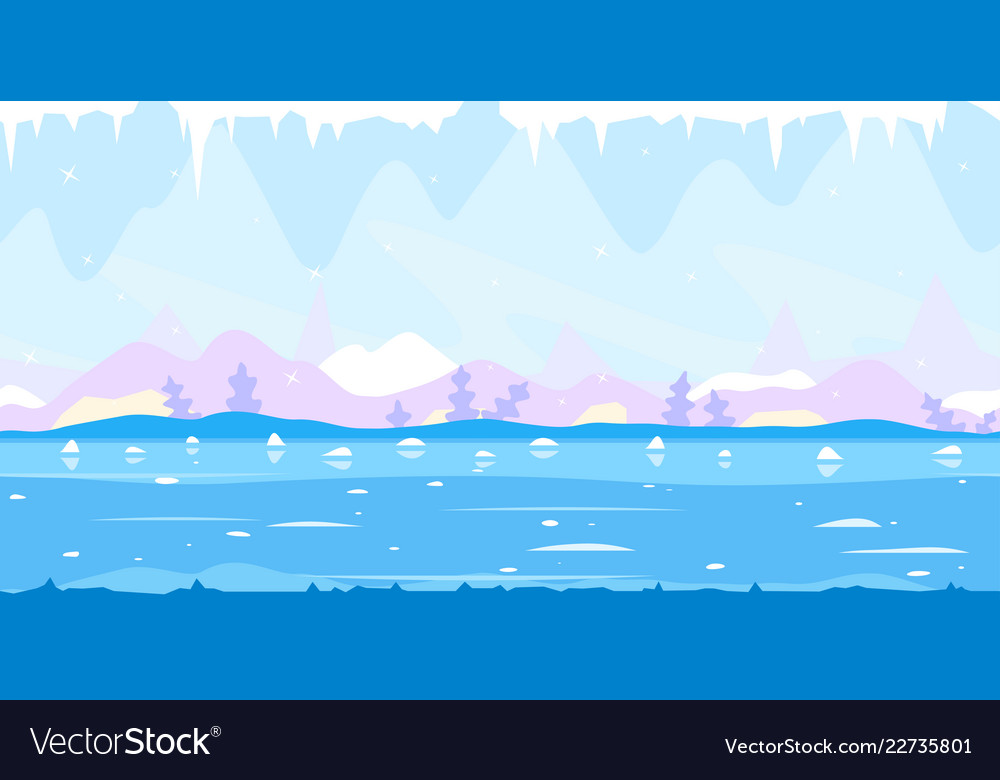 ice cave game background flat landscape royalty free vector vectorstock