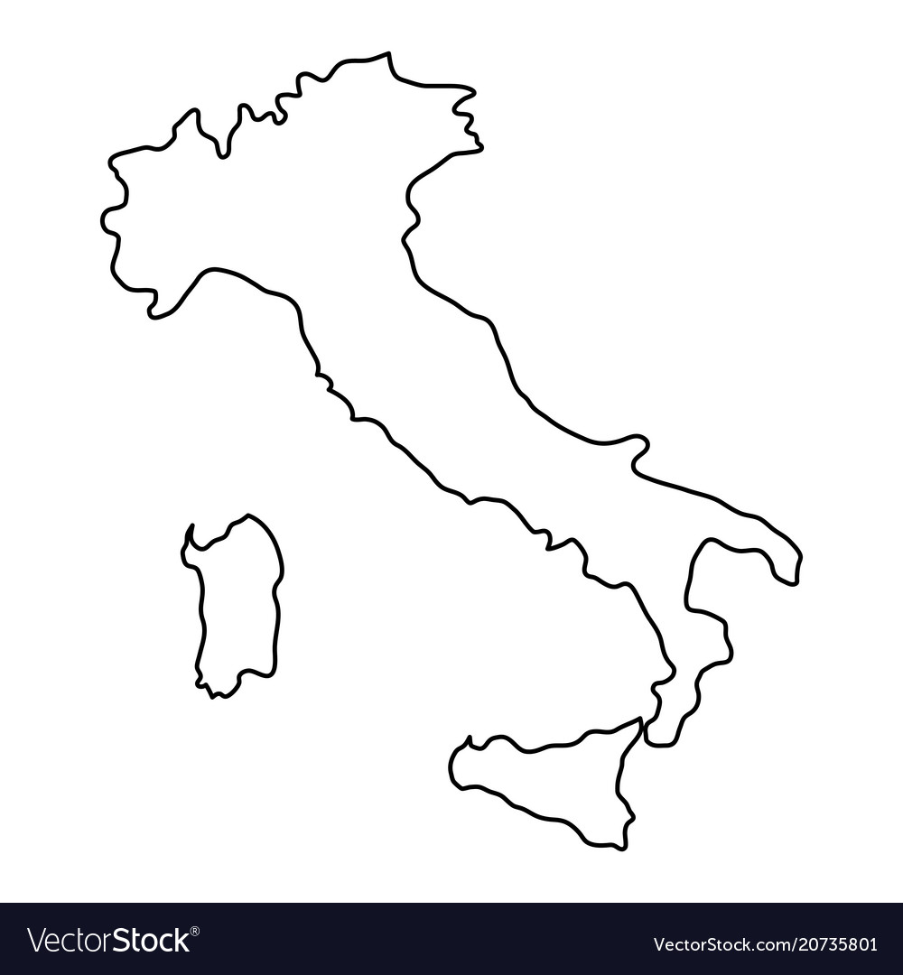 Black And White Map Of Italy.Italy Map Of Black Contour Curves Of Vector Image