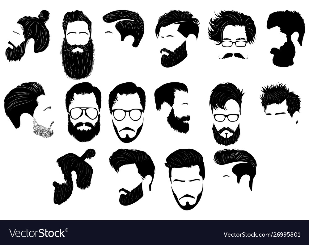 Set hairstyles for men collection black