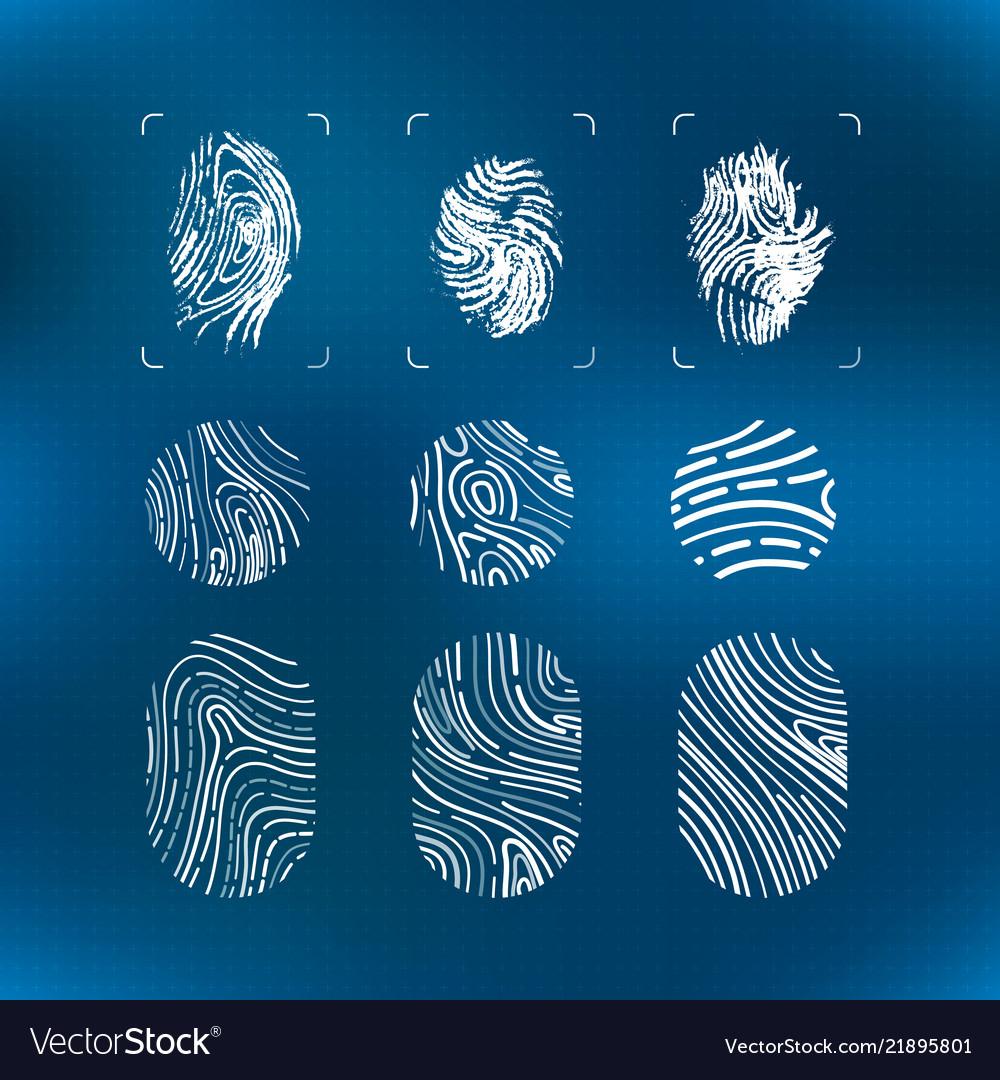 Set of bright white futuristic fingerprints