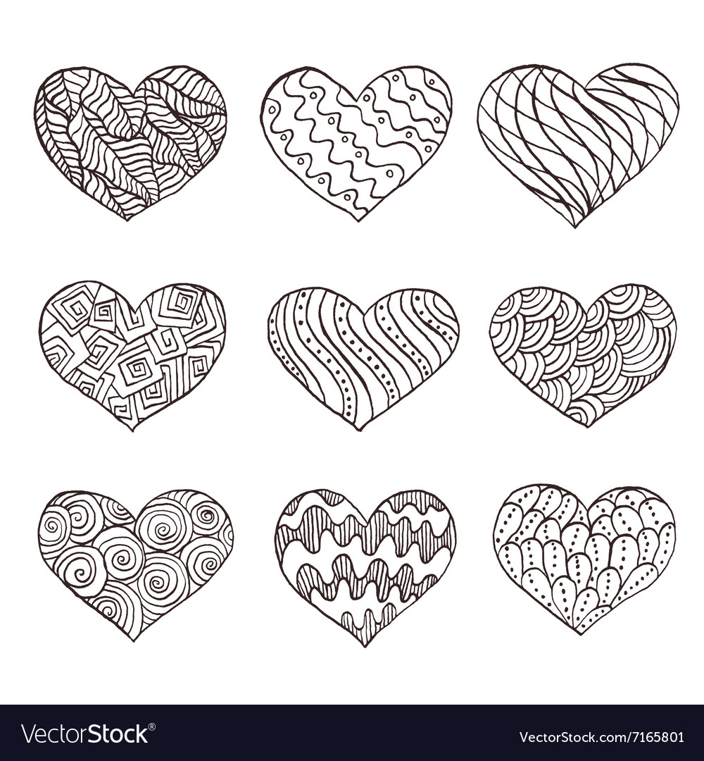 Set of hand drawn hearts Ornate ink drawing