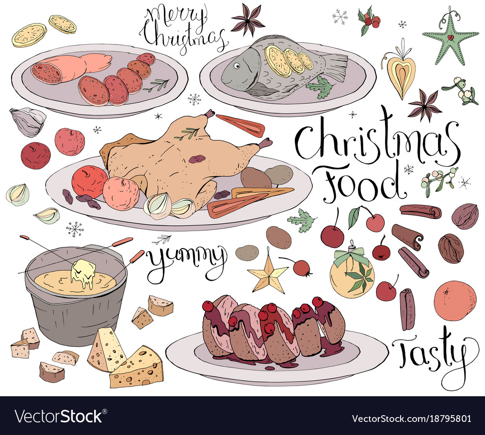 set with traditional christmas food isolated on vector image - Traditional Christmas Food