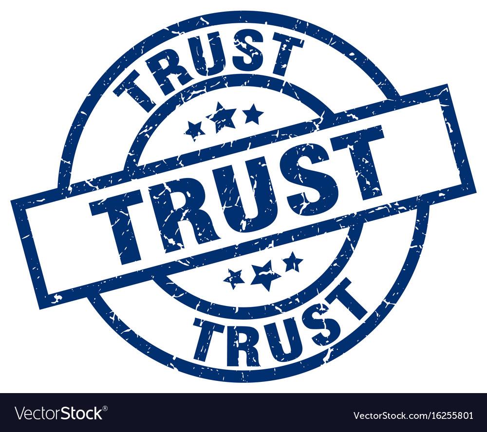 Trust blue round grunge stamp