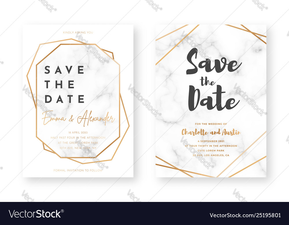 Wedding card design with golden frames and marble