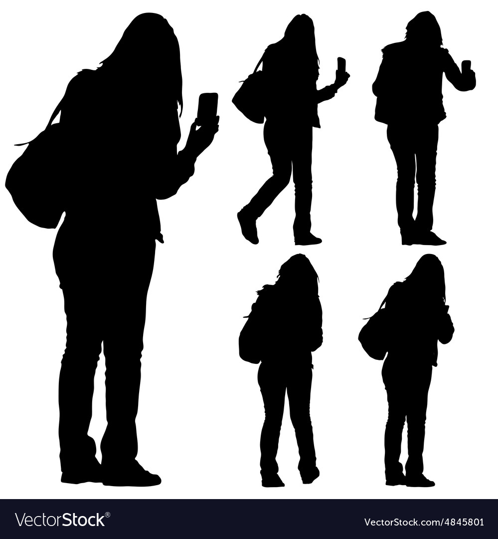 Woman with phone silhouette vector image