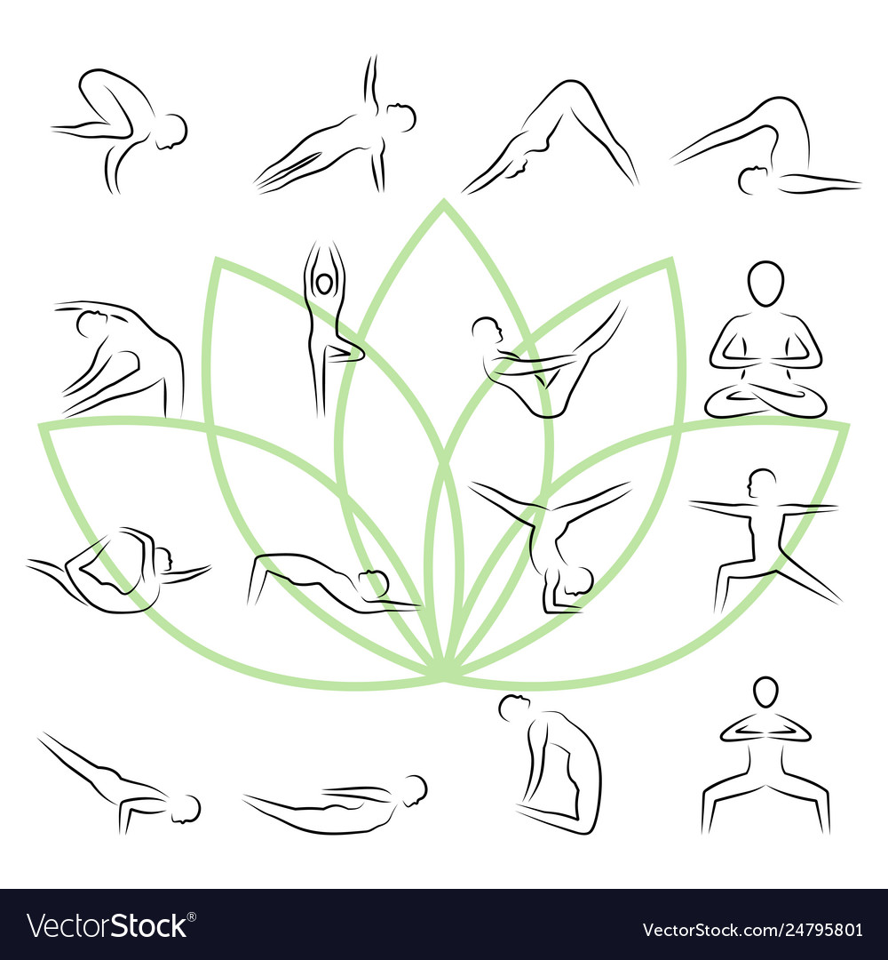 Yoga poses icon set in thin line style