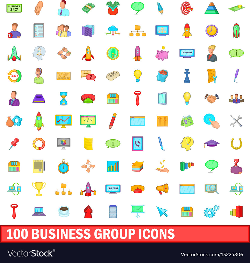 100 business group icons set cartoon style vector image