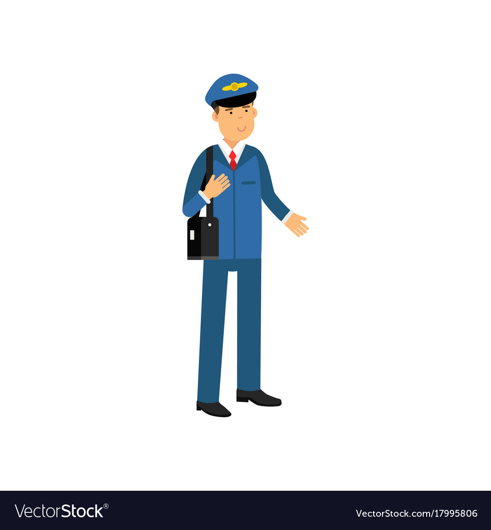 Airline pilot in blue uniform standing with bag