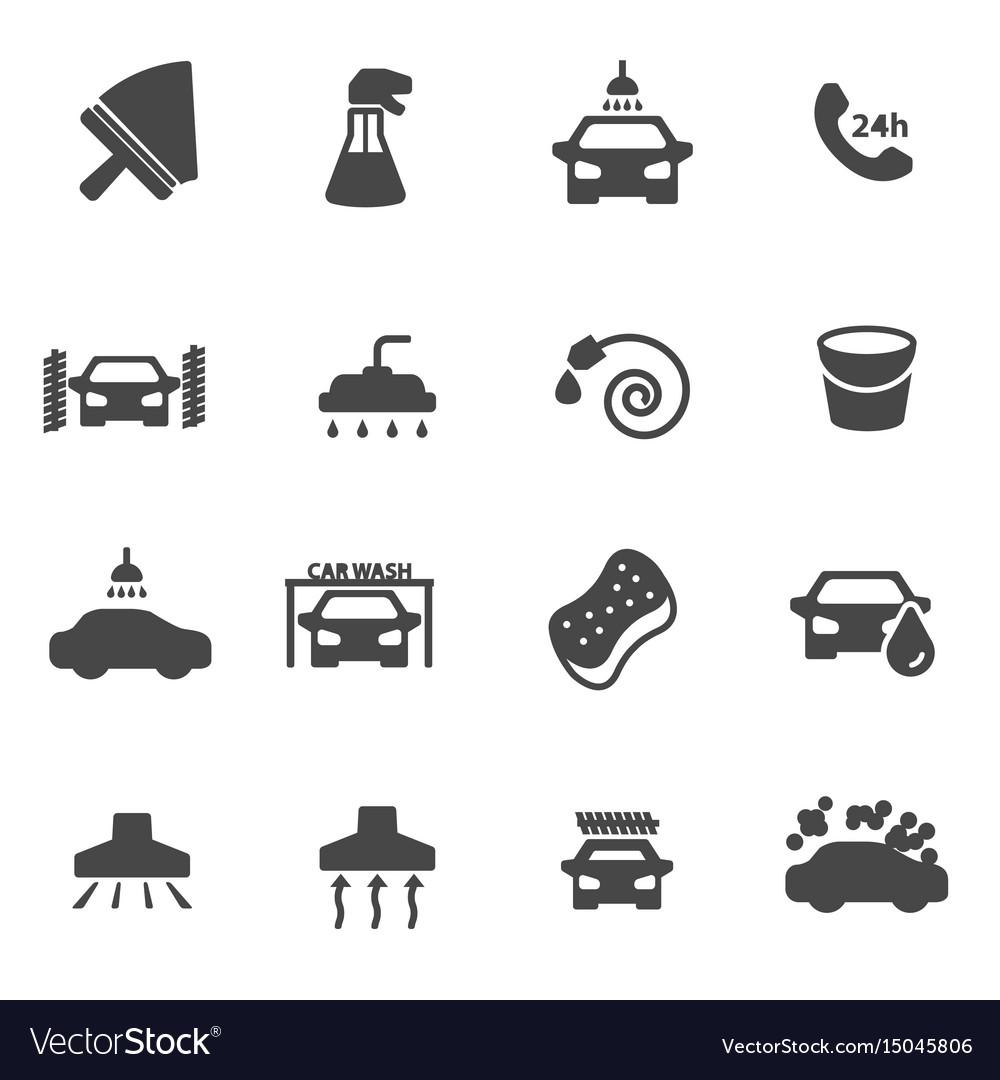 Black car wash icons set vector image