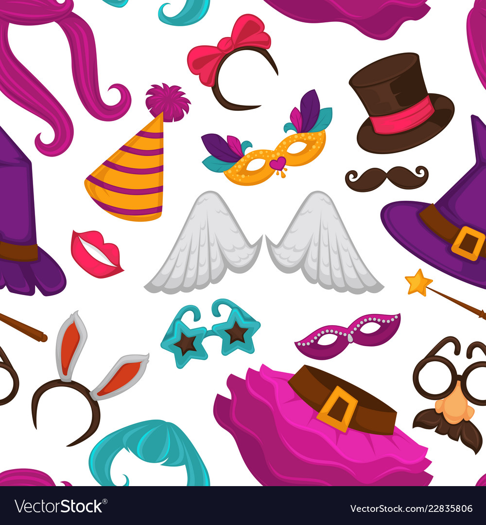 Carnival masks and costume accessories seamless