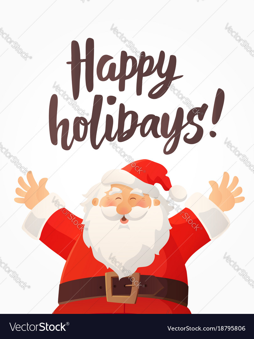 Christmas card with happy holidays text and funny Vector Image