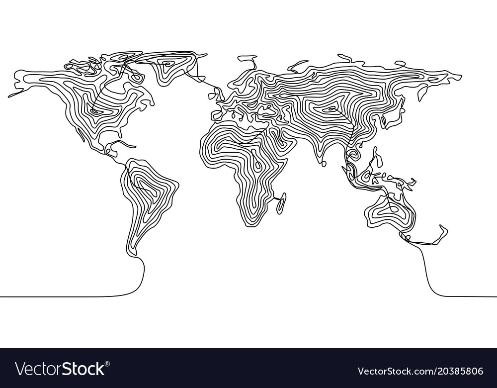 Continuous Line Drawing Of A World Map Royalty Free Vector