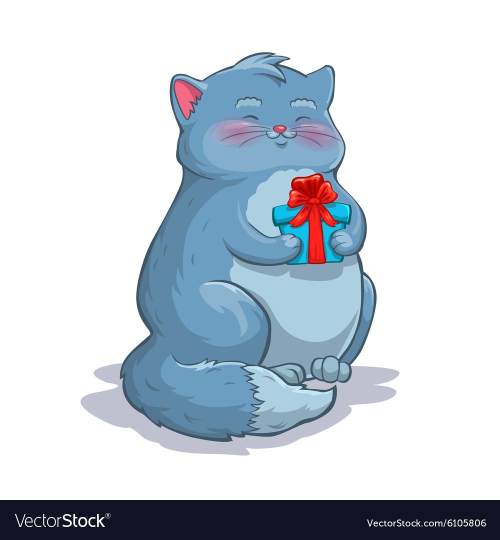Cute cartoon fat grey cat with gift box
