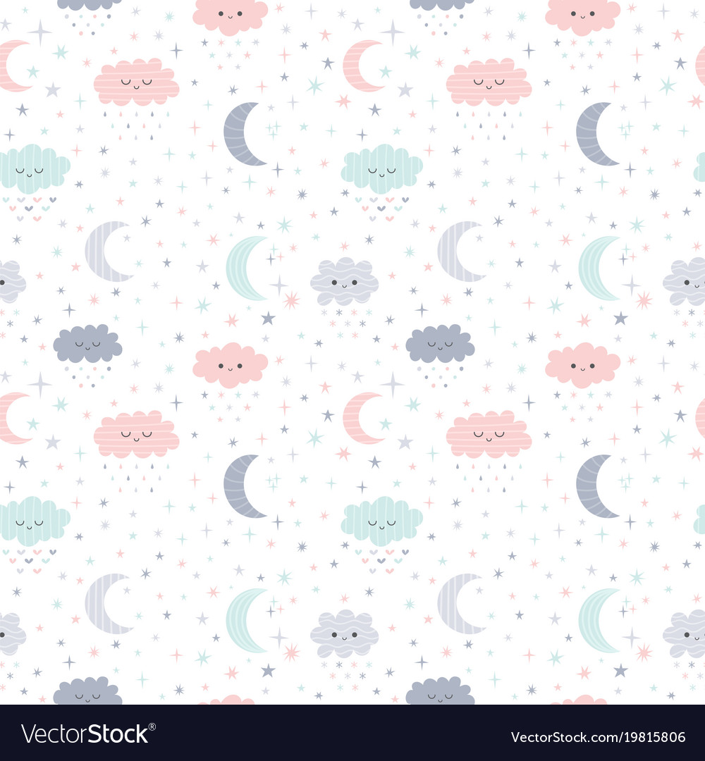 Cute hand drawn seamless pattern with smiling