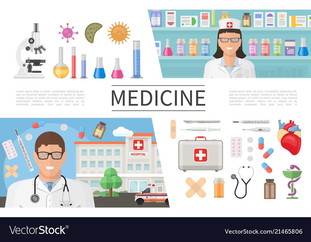 Flat medicine elements set