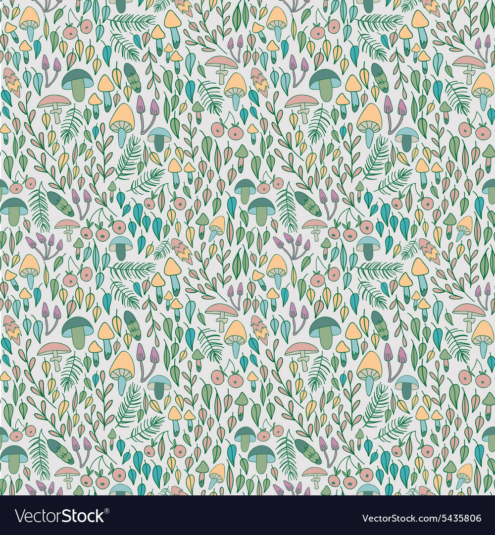 Forest seamless pattern mushrooms berries and