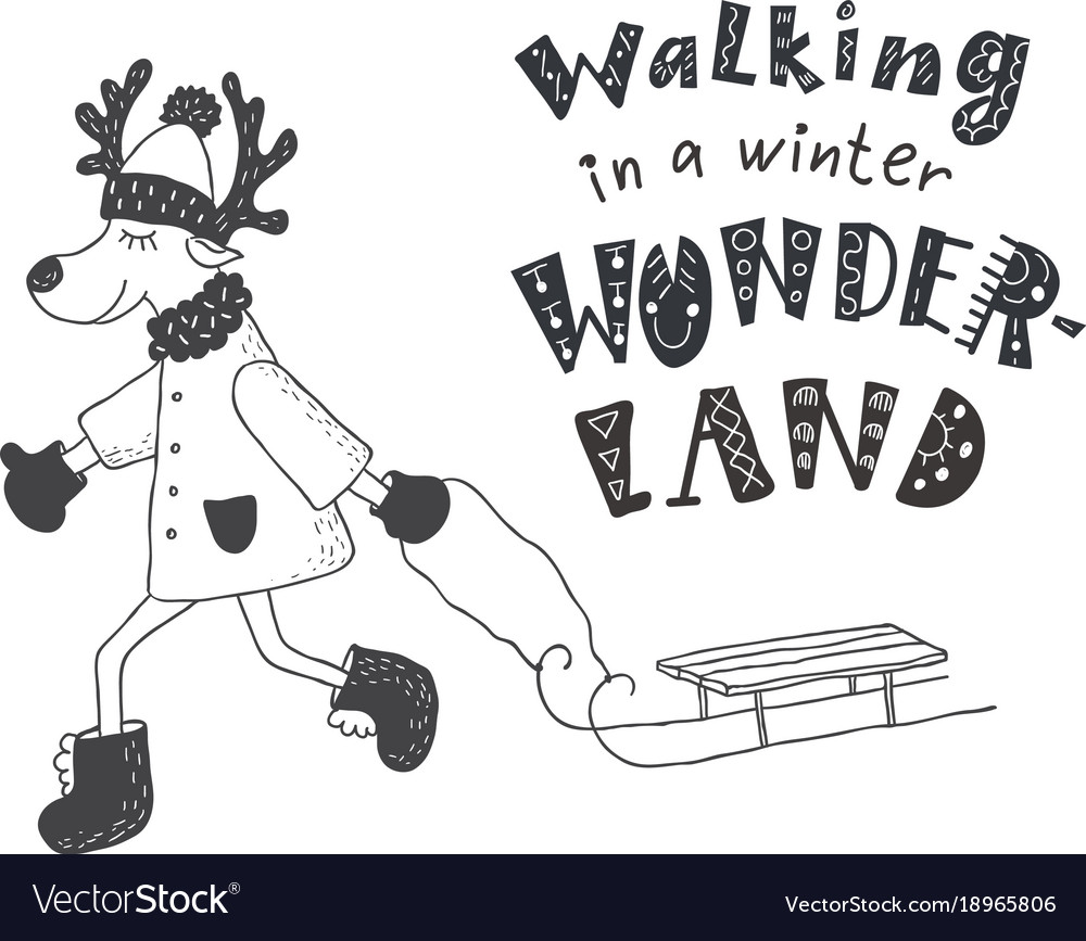 Funny deer and winter quote nursery art