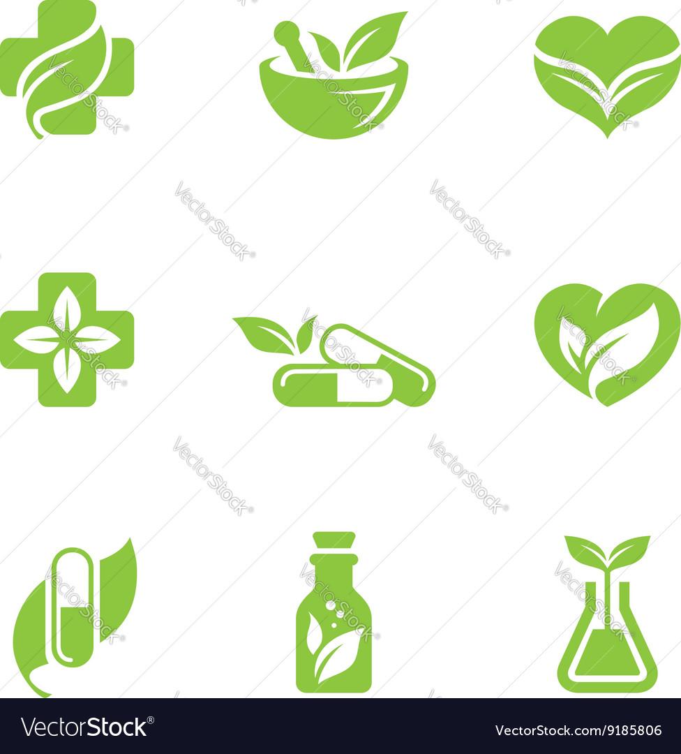 Herbal medicine icons set vector image