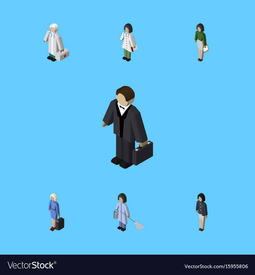 Isometric human set of doctor girl investor and vector image