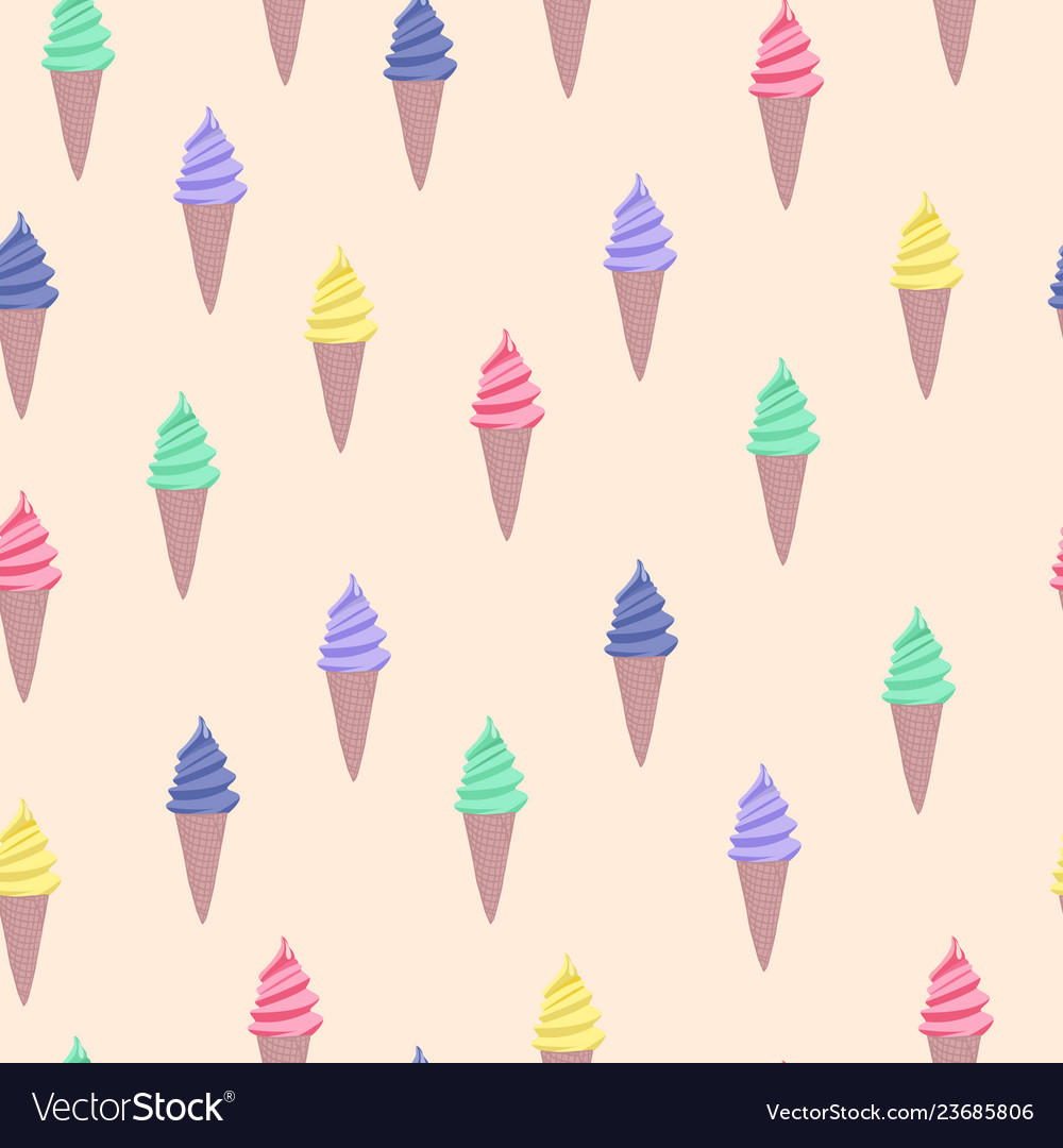 Pattern with colorful cute cartoon ice cream